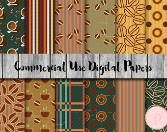 Coffee digital papers, Cafe, Hot Drink, Instant Download Digital Paper, Commercial Use, Scrapbook Digital Papers, Digital Background, DP92