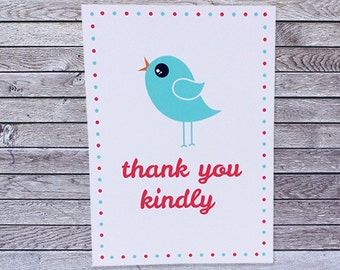 Bird Thank You Card / Single or Pack Thank You Cards (008)