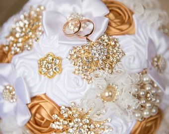 Brooch Bouquet, Bridal Bouquet, Wedding Bouquet, Fabric Bouquet, Unique Bouquet, Gold White, Flowers on a wedding, for her, wedding, Vintage