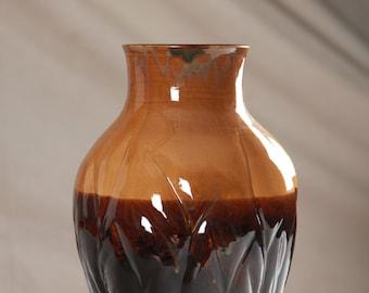 Large Black & Tan Ceramic Vase