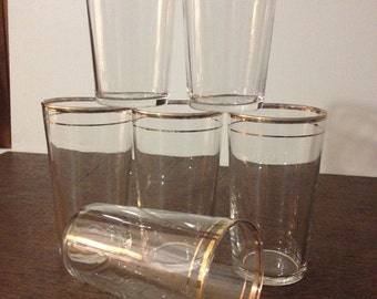 Double-gold Banded Glasses - Set of 6