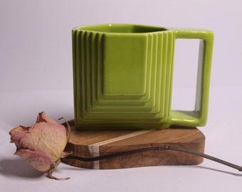 Green designer ceramic mug