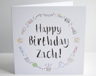 "Personalised Birthday greeting card 8""x 8"""