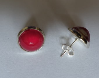 Red, pink, round, handmade studs, one of a kind.