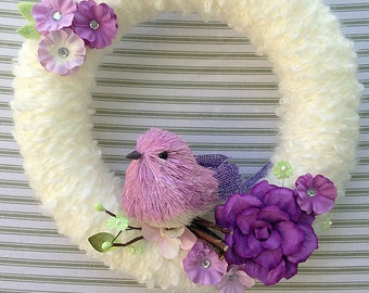 Bird Wreath, Purple Bird Wreath, Yarn Wreath, Summer Wreath, Spring Wreath, Purple Flower Wreath, Yarn Bird Wreath