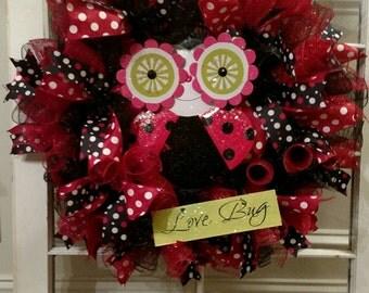 Ladybug Wreath, Spring Deco Mesh Wreath, Ladybug Deco Mesh, Door Decor, Spring Wreath