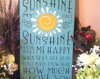 "Wood sign You Are My Sunshine 12"" x 24"" wood wall art baby wall decor inspirational sign sunshine wall decor child's room wall art"