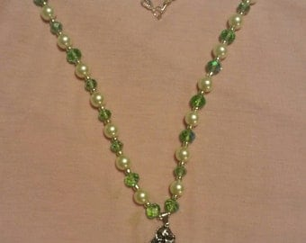 Green Crystal beads and pearl Mermaid necklace