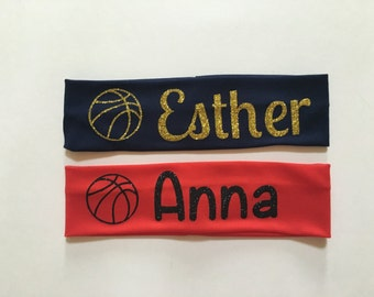 Basketball Monogrammed Stretch Headbands…Sports Personalized Glitter Headband with Name or Initials...Vinyl Monogram Head Band