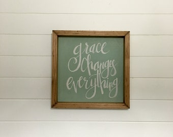 Grace Changes Everything   Small Rustic Sign   Home Decor   Mantle Sign   Gallery Wall