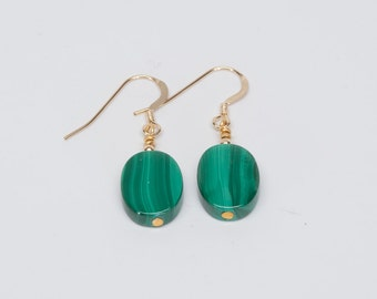 Genuine Malachite Earrings - Reiki Infused with 14k Gold Filled Ear Wires