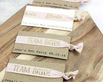 Hen party favour team bride hair ties