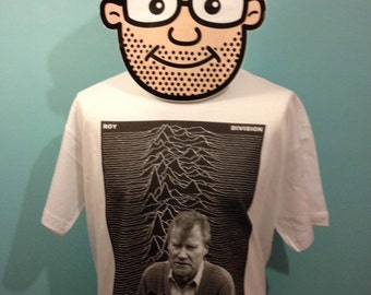 Coronation Street / Joy Division Mash-Up TV/Music T-Shirt - (Roy Cropper / Roy Division ) - White Shirt