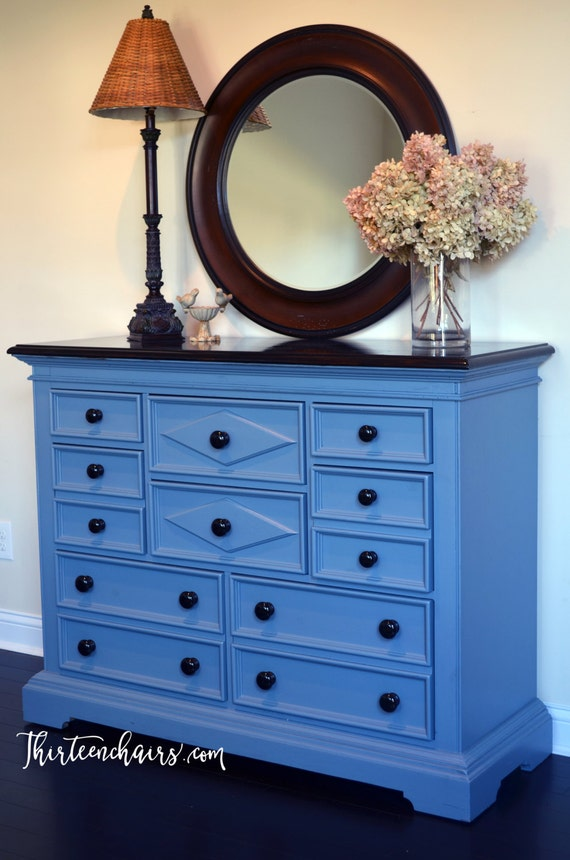 Blue Dresser With Espresso Stained Top