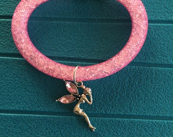Fairy charm and bracelet pink tube