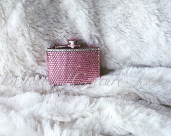 Swarovski Embellished 4 oz flask in light pink
