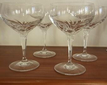 4 Crystal Champagne Glasses circa 1960/70s
