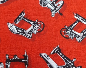 Craft Cotton - Singer Sewing Machine Print Fabric: Black and Red - UK Seller
