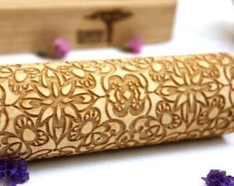 Embossing Rolling Pin FLOWERS LACE, Laser Engraved Rolling Pin,  Dough Roller, FLORAL Pattern, Christmas Gift, Personalized Rolling Pin 4