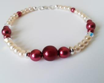 Glass Pearl, Swarovski and Sterling Silver Beaded Bracelet