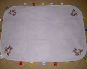 Embroidered Bears Taggie Style Baby Blanket