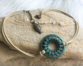 Choker - Tan Suede with Brass Accents and Green Wood Medallion