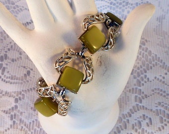 Coro Bracelet Olive Green Moonglow Lucite Silver Tone Filigree Link Bracelet Gift For Her