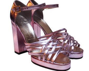 1970s Metalic Pink Platforms Shoes