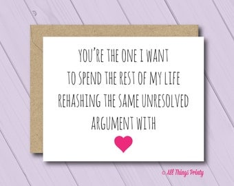 Funny Anniversary Card - Folded Love Greeting Card and Recycled Kraft Envelope - Rehashing the Same Argument - Husband or Boyfriend Humor