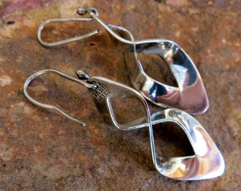Sterling Spiral Dangles, MEXICAN SILVER EARRINGS, French Hooks