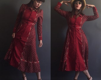Vintage 70s GUNNE SAX red CALICO dream dress