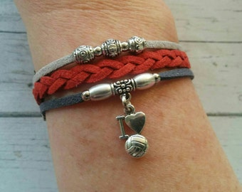 Volleyball Charm Bracelet// Red & Gray Friendship Bracelet// Girl's Sports Bracelet// Volleyball Gift// Choose ONE Charm and Cord Colors