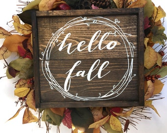 Hello Fall Handcrafted Wooden Sign