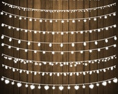 """Chalkboard clip art: """"String Lights"""" digital fairy lights, perfect for wedding and card invitations, item 203"""