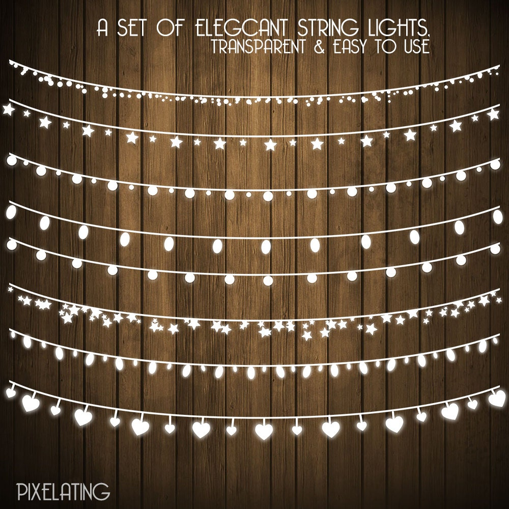 String Lights Art : Chalkboard clip art: String Lights digital fairy