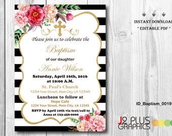 INSTANT DOWNLOAD Baptism Invitation Girl, Christening Invitation Girl, Baby Dedication Invitation, Printable, Instant Download, Editable pdf