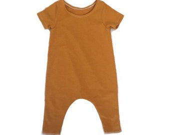 Ready to Ship Mustard Romper- 3 month Long Sleeve