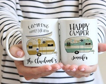 Happy Camper Mug Camping Happily Ever after Personalized Mug RV Life Camping coffee Mug Your Choice Style Camper