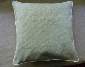Blue-white tweed decorator fabric pillow cover