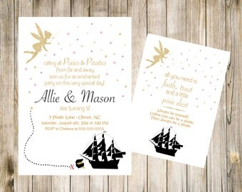 Pixie and Pirate Birthday Invitation Printable Invite DIY Digital 5x7 JPG File First 1st Front Back Party Treasure Ship Fairy Gold Glitter
