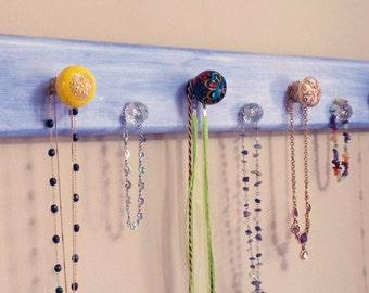 "Jewelry Rack ""Wood"" -""Lt. Ocean"" Purple/Blue ""Weathered Look"" w/Decorative Knobs"