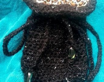 Black Cinch Pouch / Coin Bag