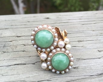 Fabulous Jade and Pearl Statement Ring