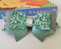 Glitter mint and silver hair bow, Green and silver Headband/Clip, Glitter bow, Spring Baby Heaband, girl hairbow, baby green mint bow