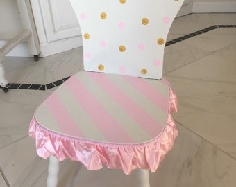 Girls pink and gold chair, polka dot chair, time out chair, princess chair