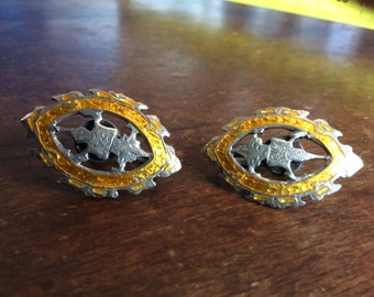 Rare yellow enamel and sterling silver screw back earings circa 1960's