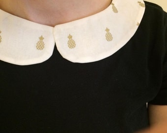 Gold Pineapple Detachable Cream Peter Pan  Collar