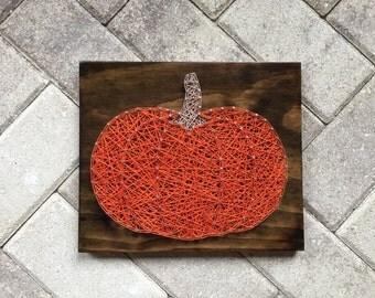 READY TO SHIP - Fall Pumpkin String Art Wooden Board- Thanksgiving, Halloween