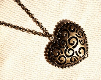 HEART Necklace Spiral necklace bronze necklace Love necklace Antique boho Anniversary gift double sided heart puffy heart valentine's