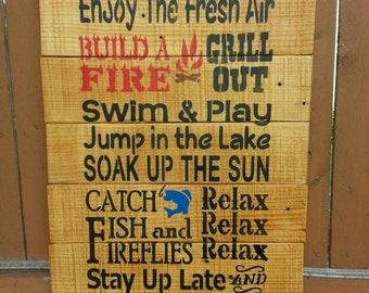 "Large Lake Rules Wood Sign 24""x14"" Pallet Wood Wall Hanging Reclaimed Wood Rustic Decor Rustic Repurposed Primitive Cabin Decor Lake House"